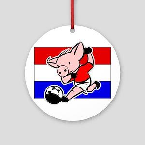 Croatia Soccer Pigs Ornament (Round)