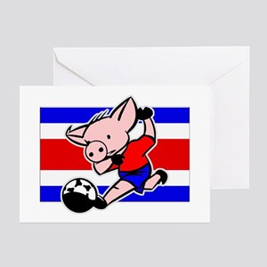 Costa Rica Soccer Pigs Greeting Cards (Package of