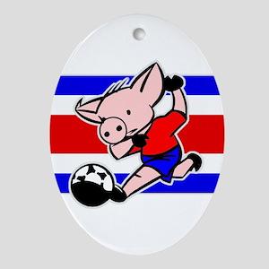 Costa Rica Soccer Pigs Oval Ornament
