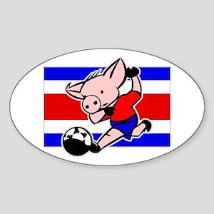 Costa Rica Soccer Pigs Oval Sticker