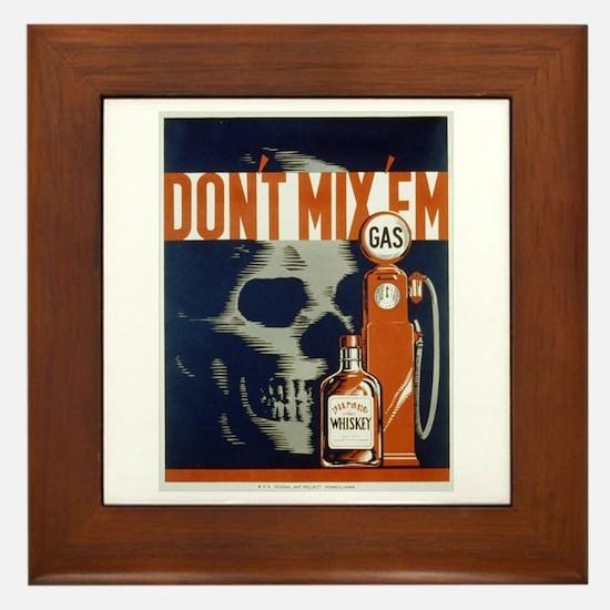 Don't Mix 'Em WPA Poster Framed Tile