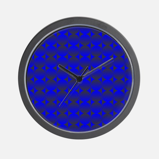 Blue Black Circles Wall Clock