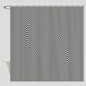 Black White Swirl Shower Curtain