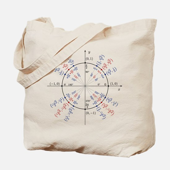unit circle funny math geek Tote Bag