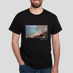 Boats on the Beach at Etretat, Monet, Dark T-Shirt