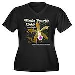 Fla Butterfly Orchid Women's + Size V-Neck Dark T