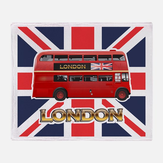 Red Bus Throw Blanket