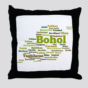 Bohol Geographic Word Cloud Throw Pillow