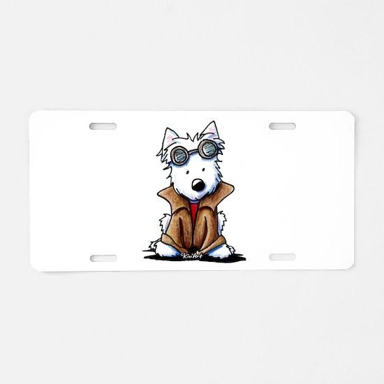 Steampunk Westie Aluminum License Plate