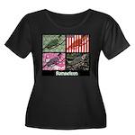 Romneleon Women's Plus Size Scoop Neck Dark T-Shir