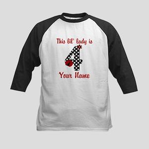 4th Birthday Ladybug Kids Baseball Jersey