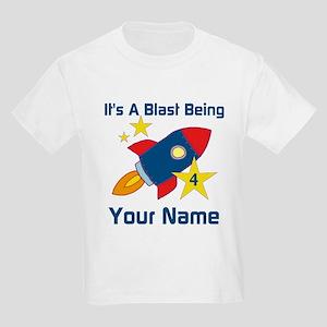 4th Birthday Rocket Kids Light T-Shirt