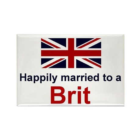 """Happily Married To A Brit Magnet (3""""x2"""")"""