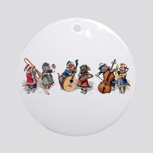 Jazz Cats In the Snow Ornament (Round)