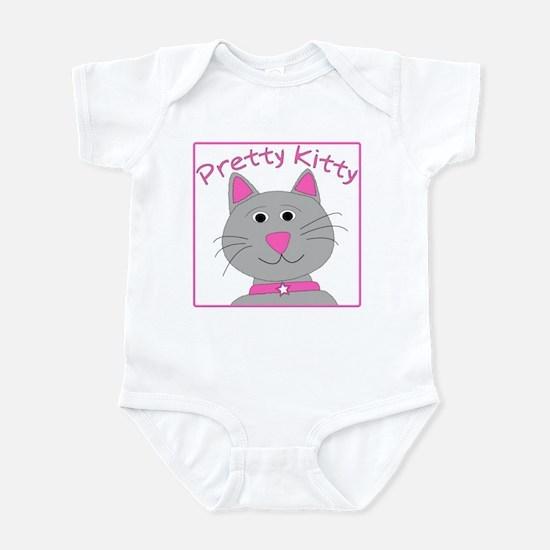 """Pretty Light Grey Kitty"" White Infant Creeper"