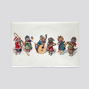 Jazz Cats In the Snow Rectangle Magnet