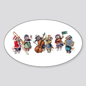 Jazz Cats In the Snow Sticker (Oval)