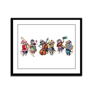 Jazz Cats In the Snow Framed Panel Print