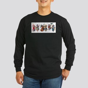 Jazz Cats In the Snow Long Sleeve Dark T-Shirt