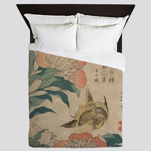 Hokusai Peony and Canary Queen Duvet