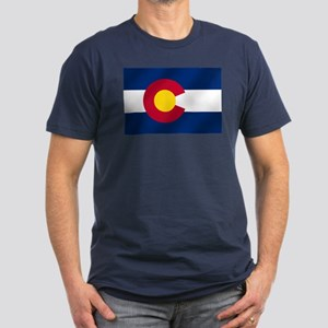Flag of Colorado Men's Fitted T-Shirt (dark)