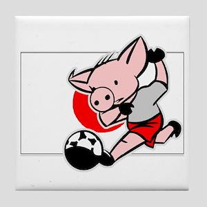 Japan Soccer Pigs Tile Coaster