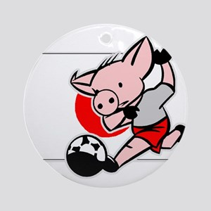 Japan Soccer Pigs Ornament (Round)