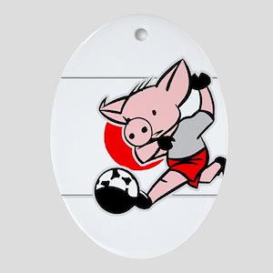 Japan Soccer Pigs Oval Ornament