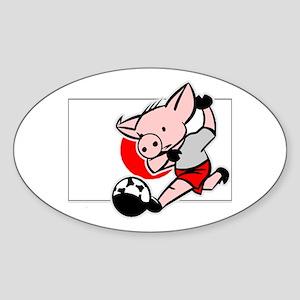 Japan Soccer Pigs Oval Sticker