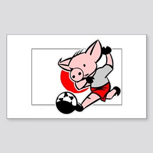 Japan Soccer Pigs Rectangle Sticker