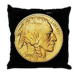 Black-Gold Indian Head Throw Pillow
