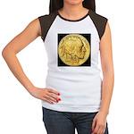 Black-Gold Indian Head Women's Cap Sleeve T-Shirt
