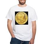 Black-Gold Indian Head White T-Shirt