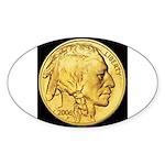 Black-Gold Indian Head Oval Sticker