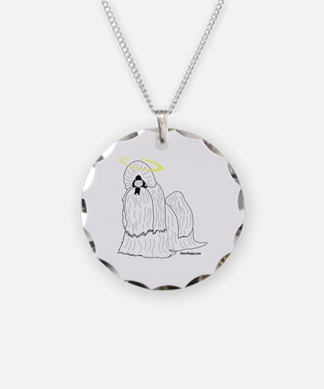 Shih Tzu with Halo Necklace Circle Charm