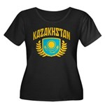 Kazakhstan Women's Plus Size Scoop Neck Dark T-Shi