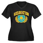 Kazakhstan Women's Plus Size V-Neck Dark T-Shirt