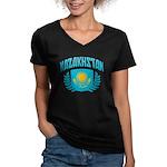 Kazakhstan Women's V-Neck Dark T-Shirt