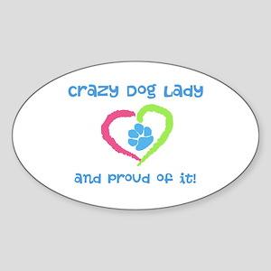 Crazy Dog Lady Sticker (Oval)