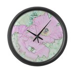 Pink Cactus Flowers Large Wall Clock