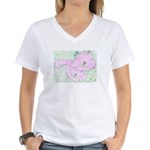 Pink Cactus Flowers Women's V-Neck T-Shirt