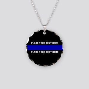 Thin Blue Line Customized Necklace Circle Charm