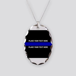 Thin Blue Line Customized Necklace Oval Charm