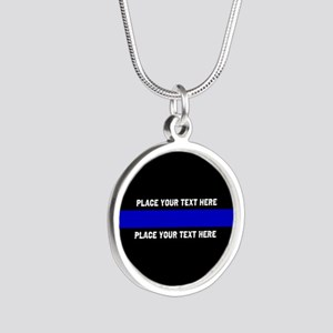 Thin Blue Line Customized Silver Round Necklace