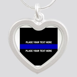 Thin Blue Line Customized Silver Heart Necklace