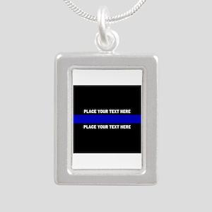 Thin Blue Line Customize Silver Portrait Necklace