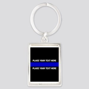 Thin Blue Line Customized Portrait Keychain