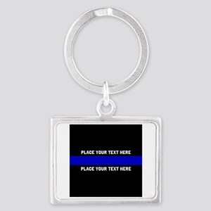 Thin Blue Line Customized Landscape Keychain