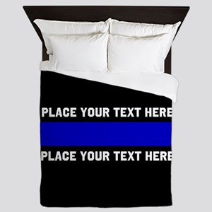 Thin Blue Line Customized Queen Duvet