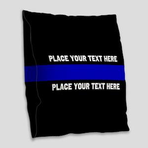 Thin Blue Line Customized Burlap Throw Pillow